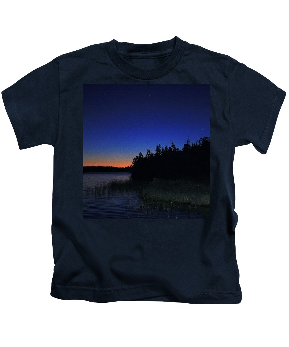 Sky Night Kids T-Shirt featuring the photograph Black And Blue Sky by Jason Lees
