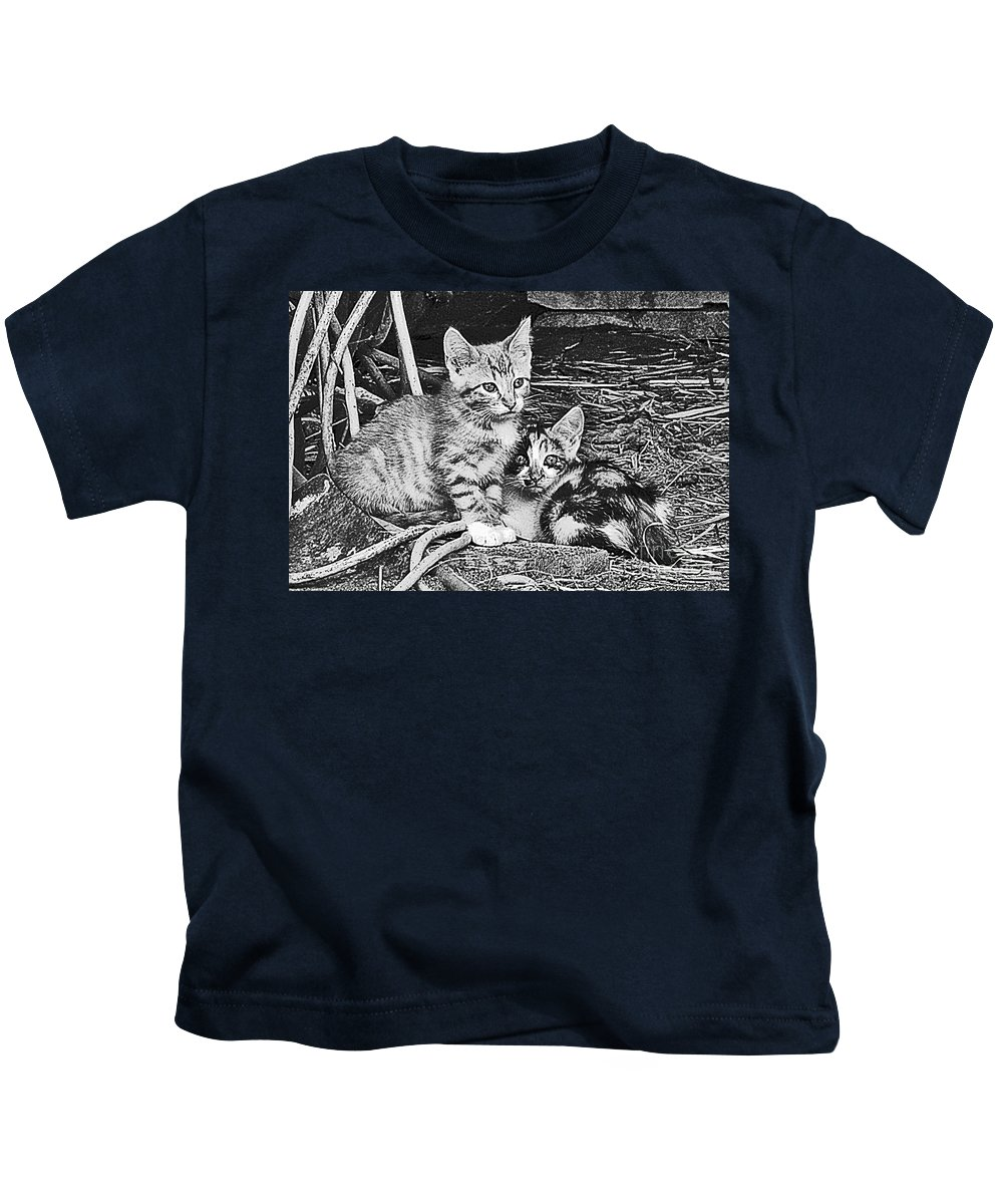 Cat Kids T-Shirt featuring the photograph Black And White Kittens by Minding My Visions by Adri and Ray