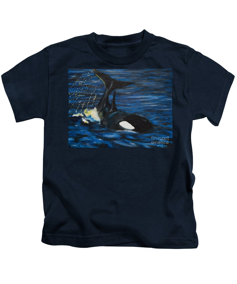 Orca Kids T-Shirt featuring the painting Black Beauty by Robert Timmons