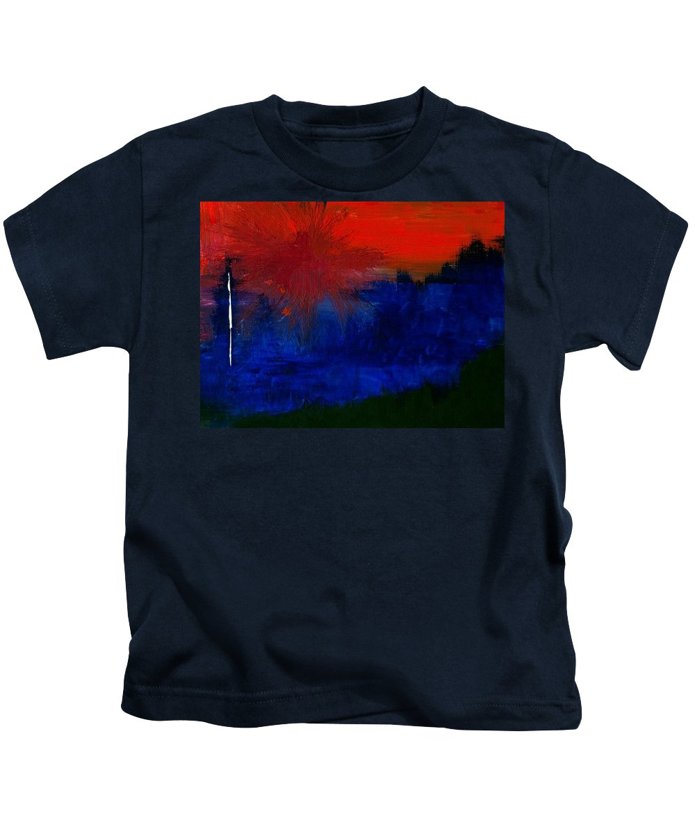 Abstract Kids T-Shirt featuring the painting Black Forest #2 by Thomas Gronowski