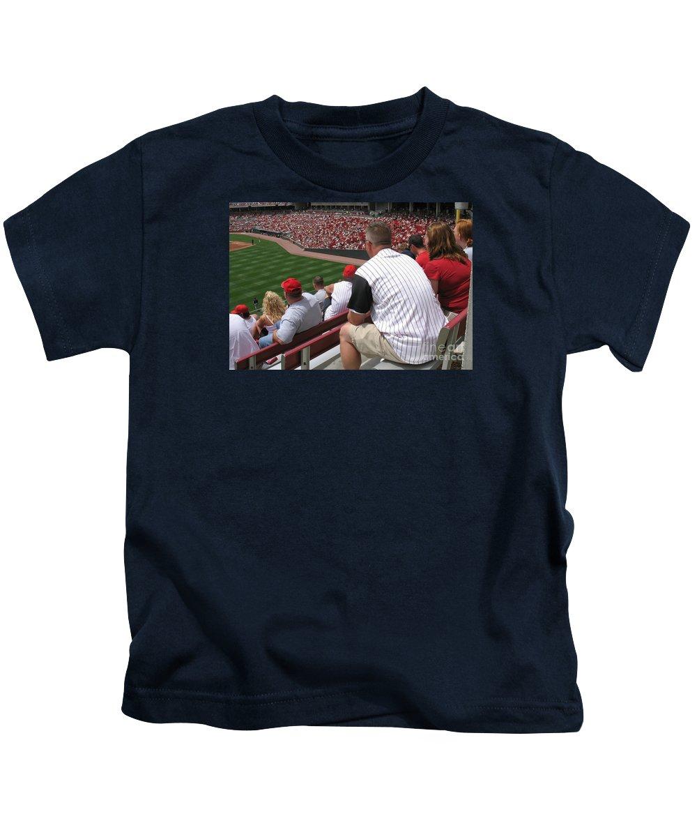 Baseball Kids T-Shirt featuring the photograph Bleacher Seats by Ann Horn