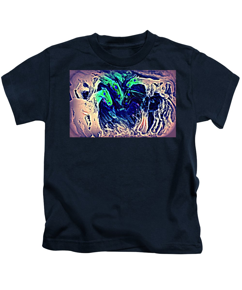Horse Kids T-Shirt featuring the painting A Blue Circle Of Horses In Blue by Hilde Widerberg