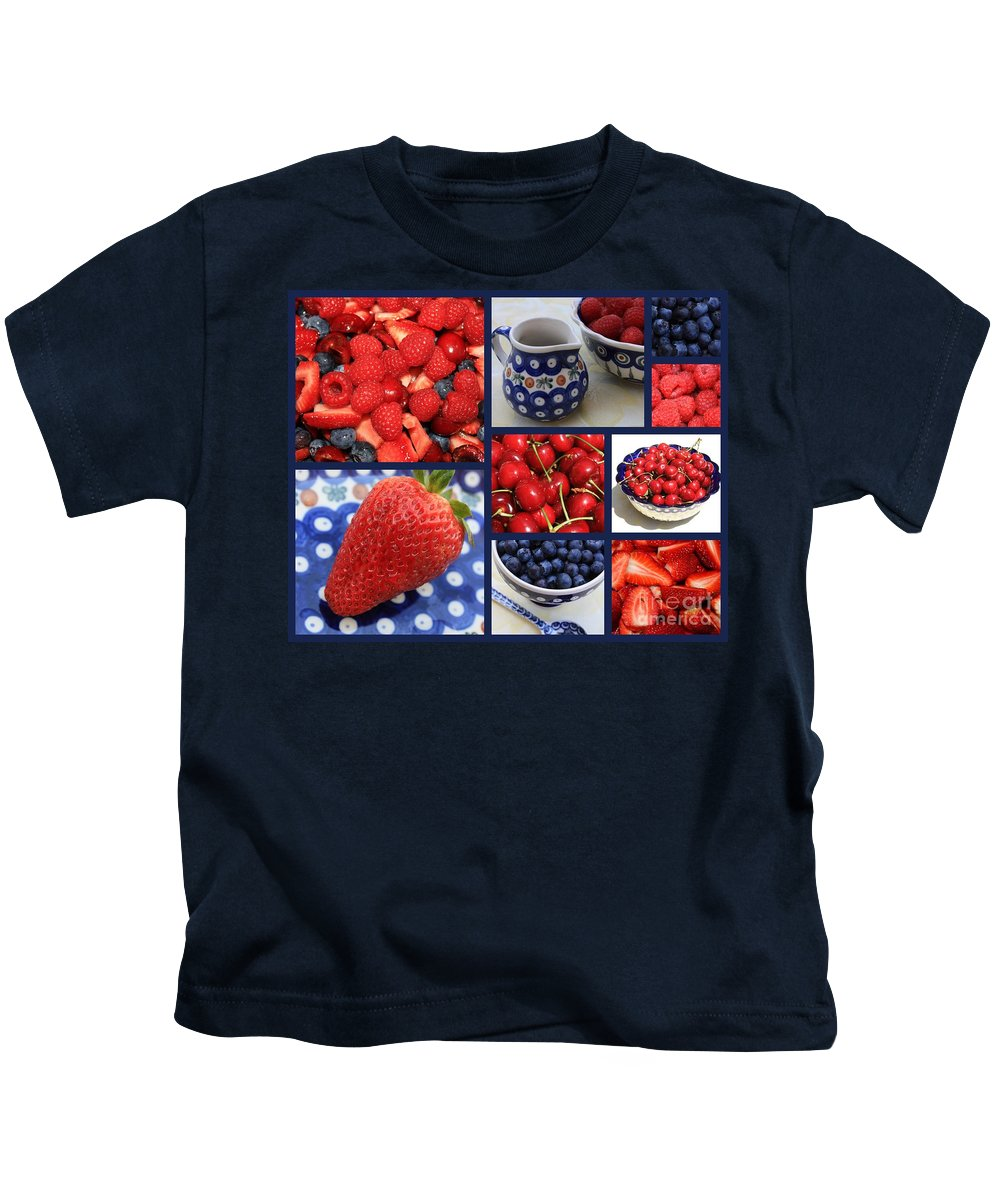 Fruit Kids T-Shirt featuring the photograph Blue Dishes And Fruit Collage by Carol Groenen