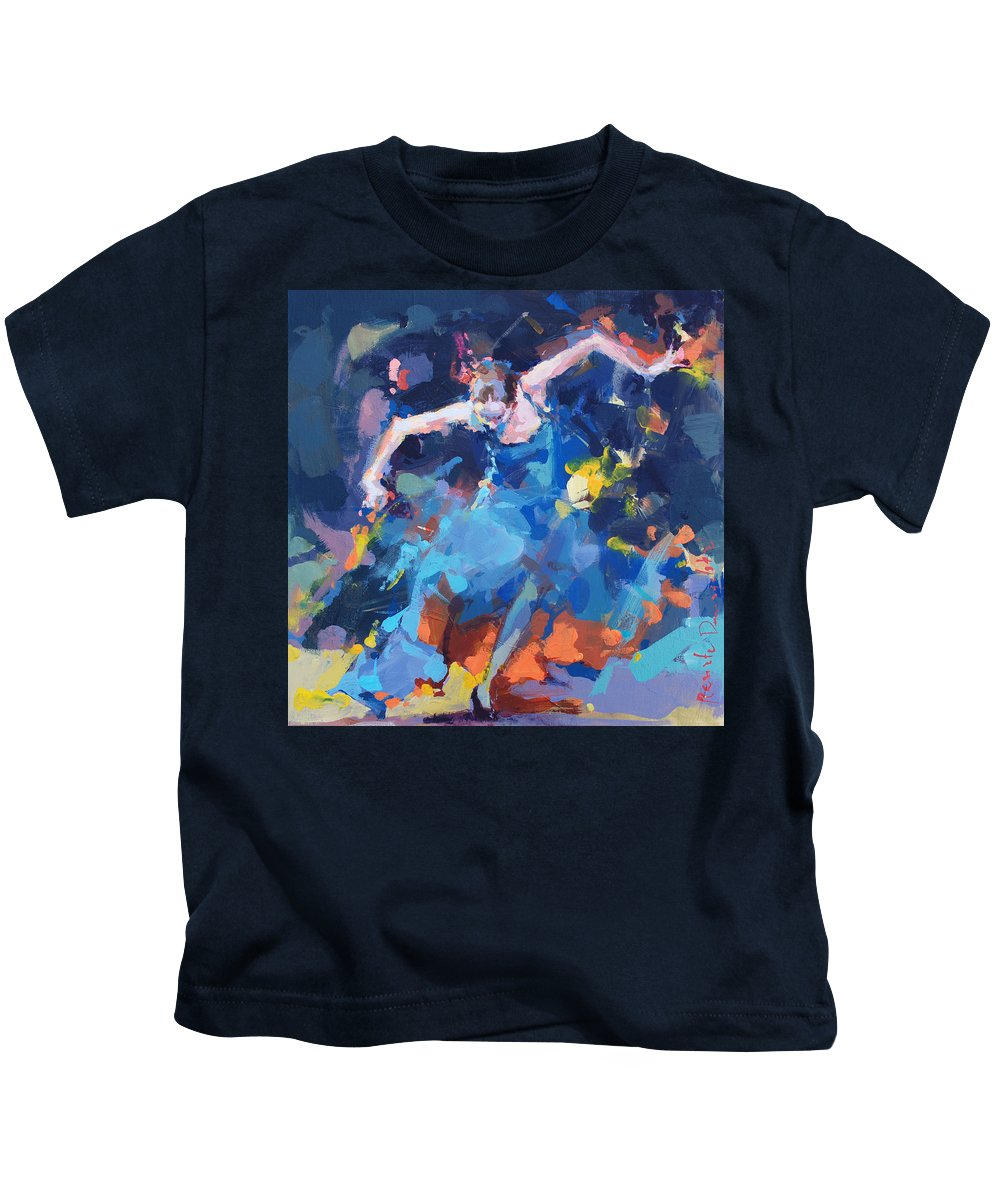 Dancers Kids T-Shirt featuring the painting Blue Hurricane by Renata Domagalska