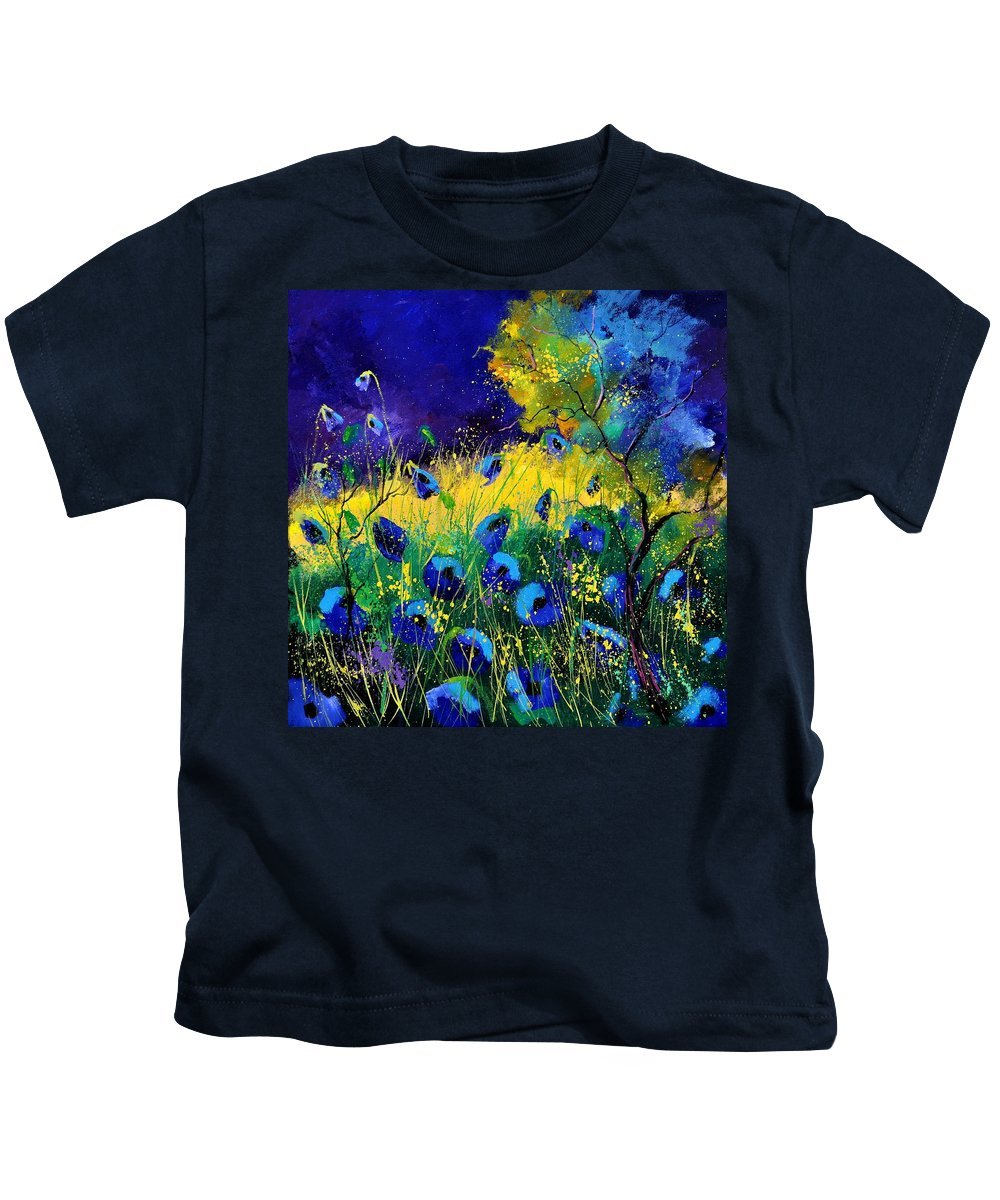 Landscape Kids T-Shirt featuring the painting Blue poppies 7741 by Pol Ledent