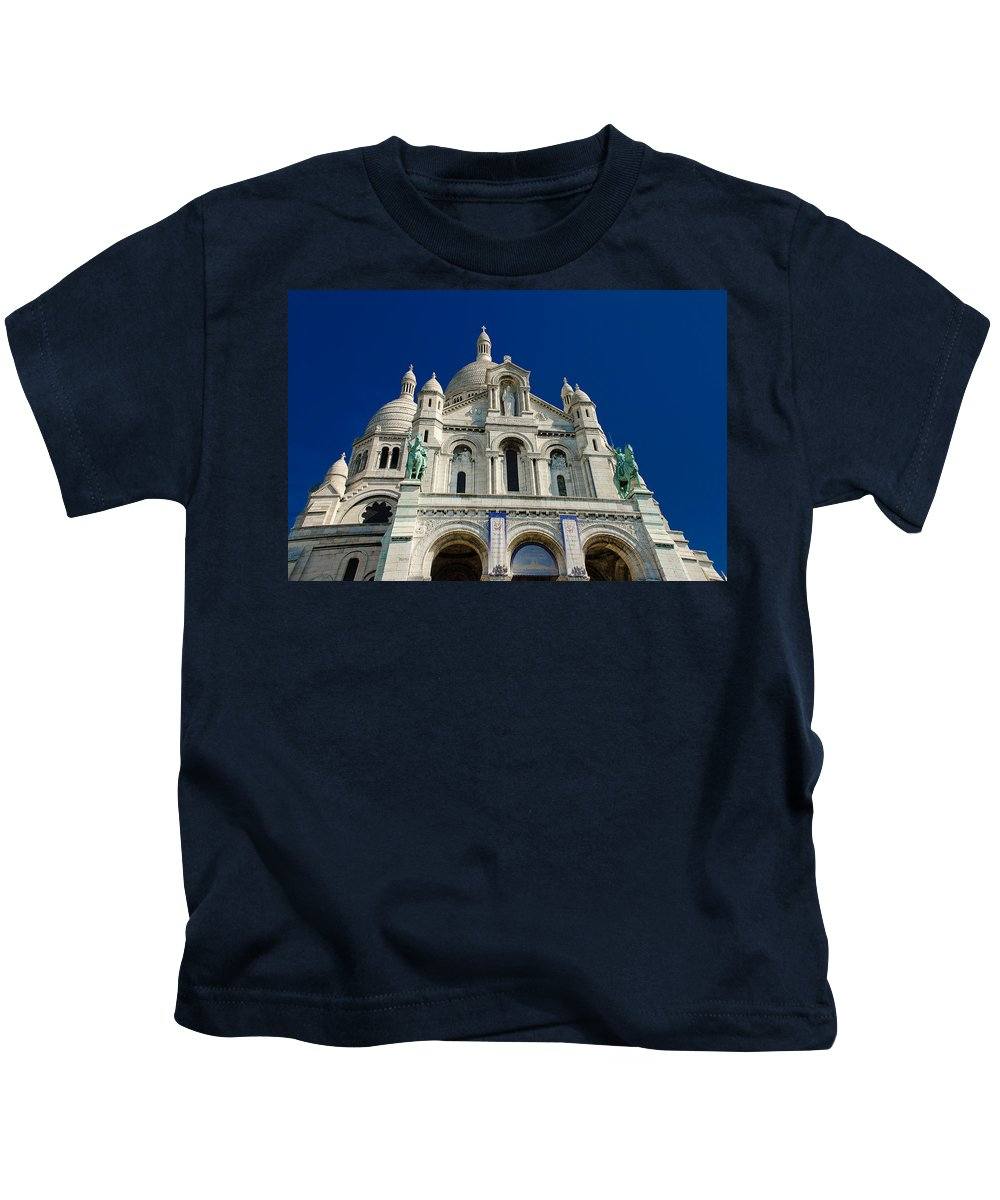 Montmartre Kids T-Shirt featuring the photograph Blue Sky Over Sacre Coeur Basilica by Dany Lison
