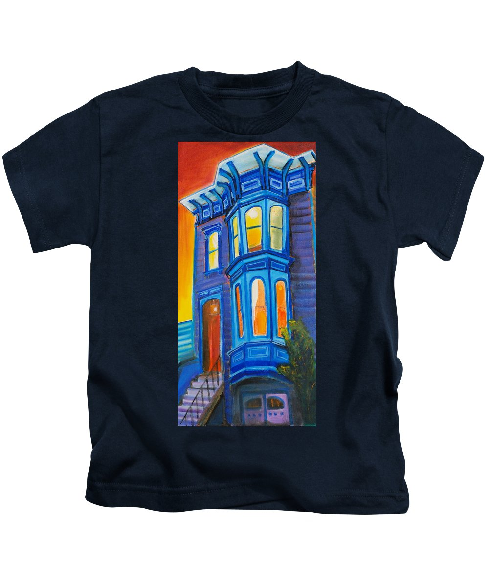 San Francisco Kids T-Shirt featuring the painting Blue Victorian by Nathalie Fabri