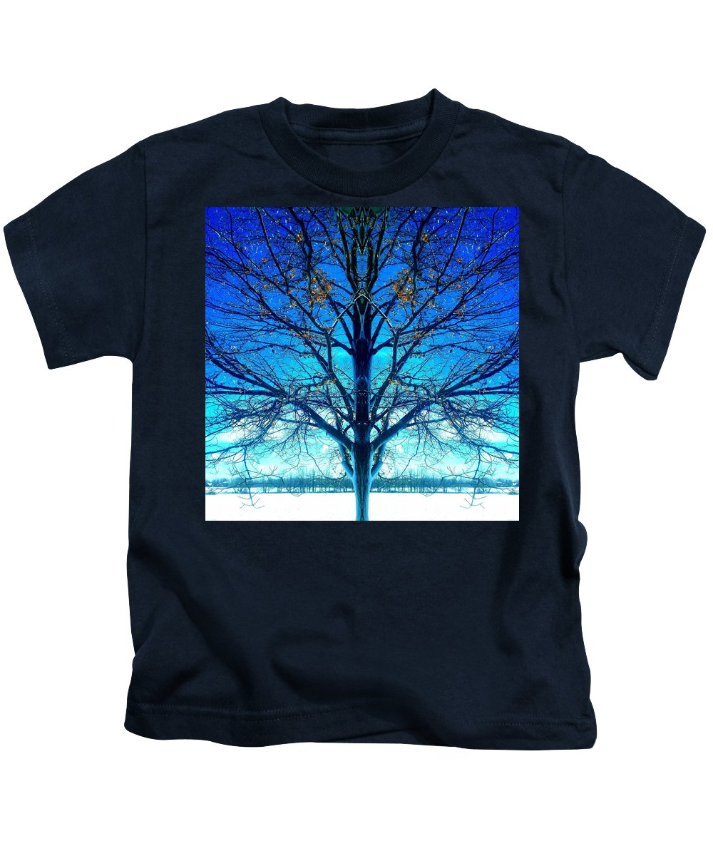 Tree Kids T-Shirt featuring the photograph Blue Winter Tree by Marianne Dow