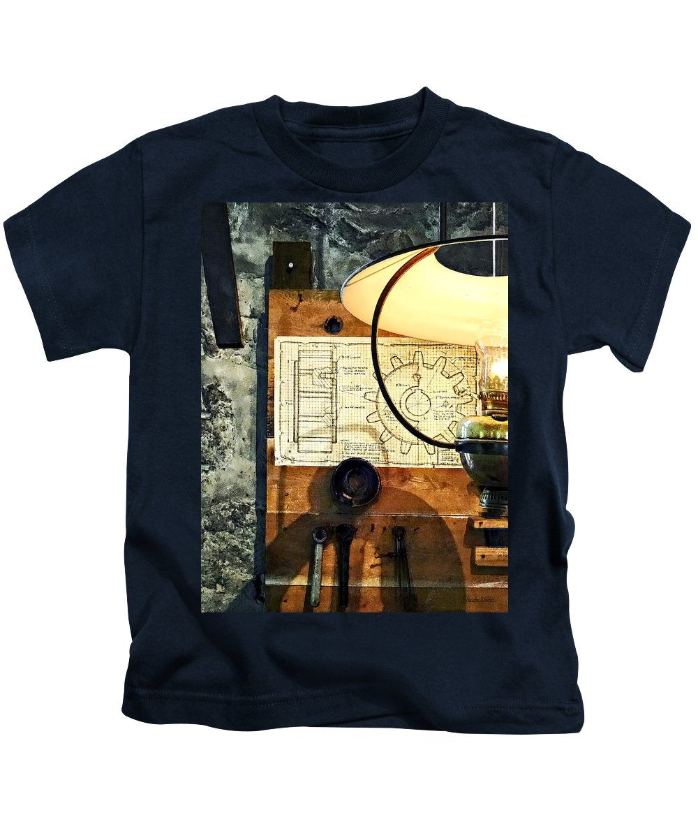 Machine Shop Kids T-Shirt featuring the photograph Blueprint Of Gear by Susan Savad