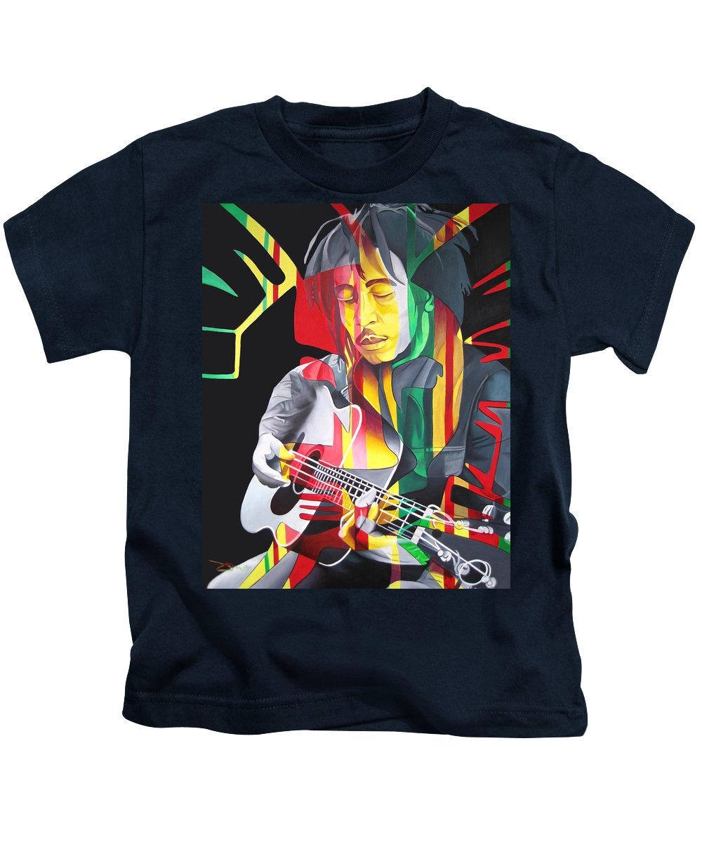 Bob Marley Kids T-Shirt featuring the painting Bob Marley And Rasta Lion by Joshua Morton