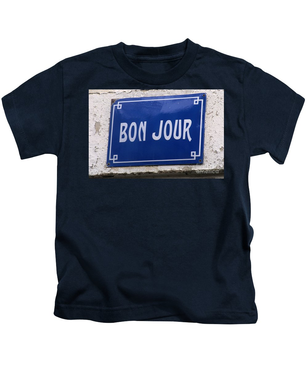 Bonjour Kids T-Shirt featuring the photograph Bonjour French Street Sign by Ros Drinkwater