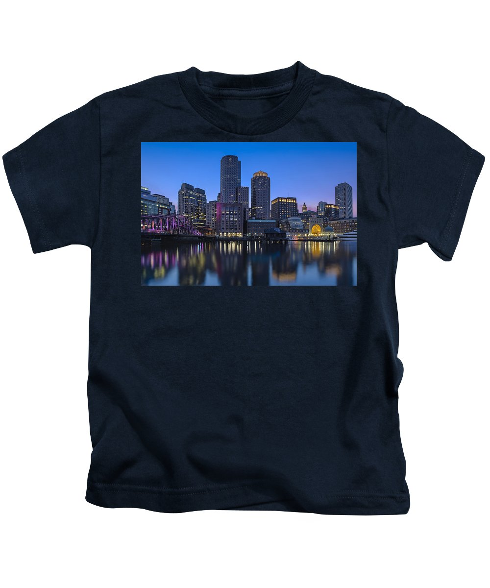 Boston Kids T-Shirt featuring the photograph Boston Skyline Seaport District by Susan Candelario