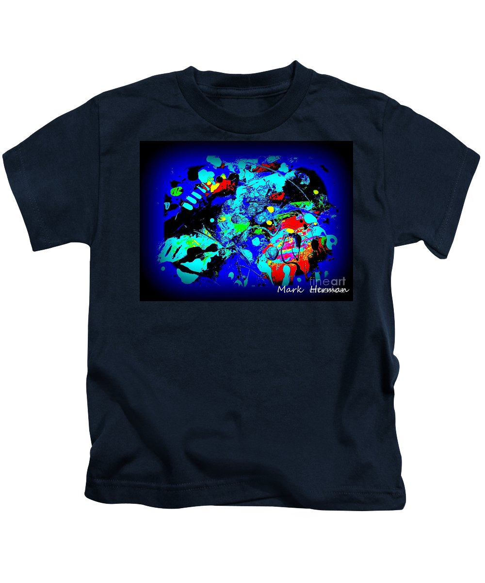 Mixed Medium Kids T-Shirt featuring the painting Brand X by Mark Herman