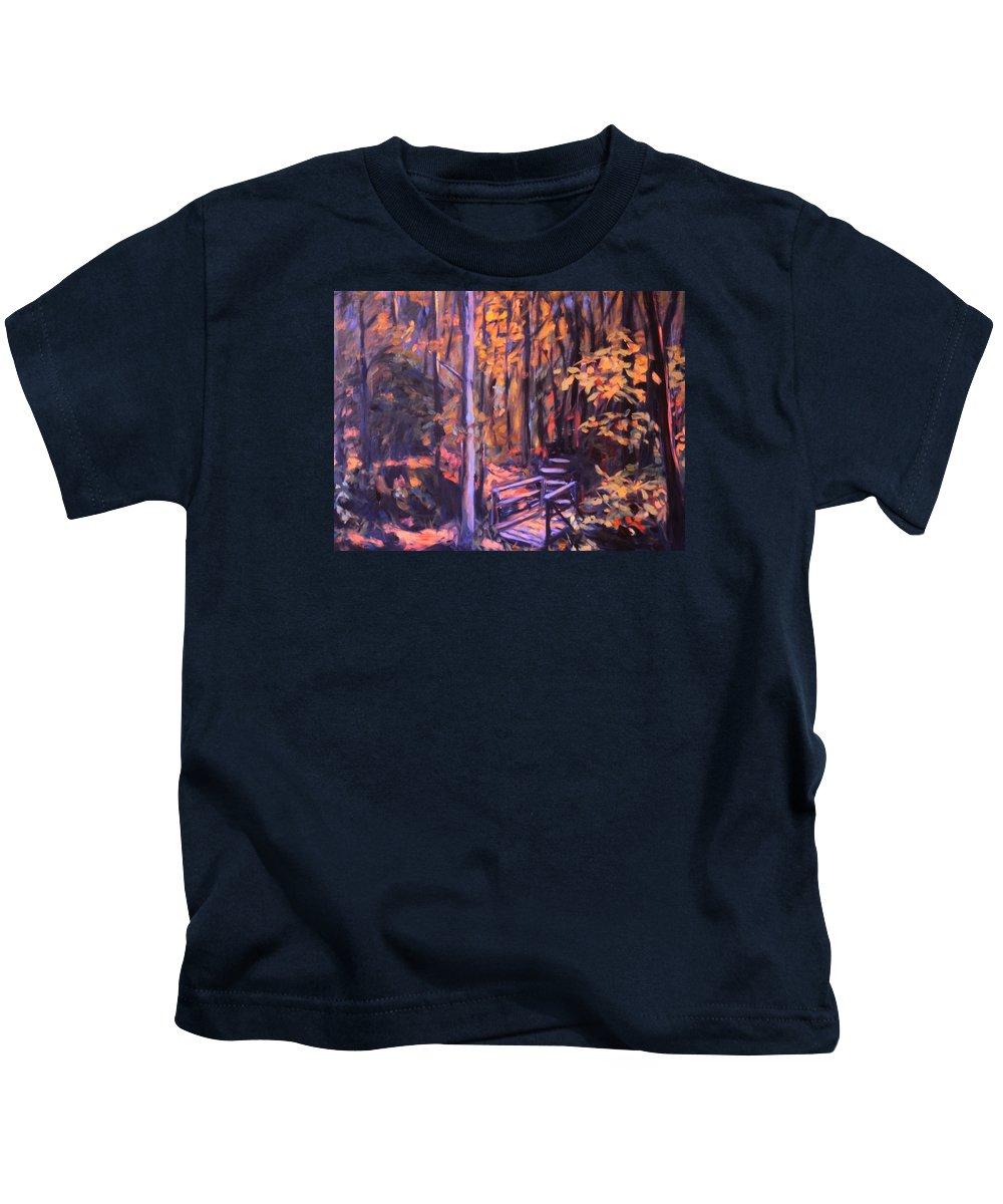 Woods Kids T-Shirt featuring the painting Bridge In Woods Near Pandapas by Kendall Kessler