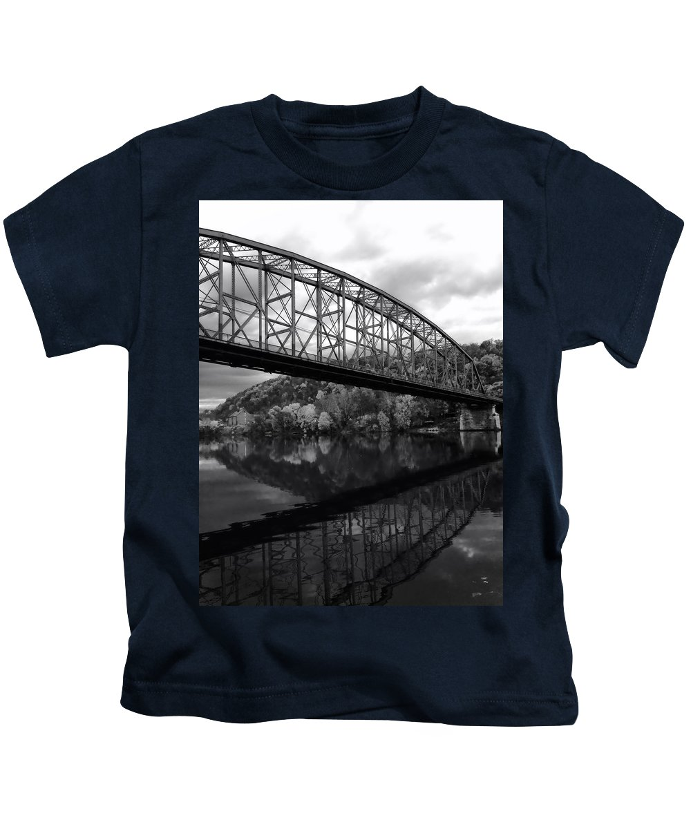 Bridge Kids T-Shirt featuring the photograph Bridge Reflections In Autumn by Mountain Dreams