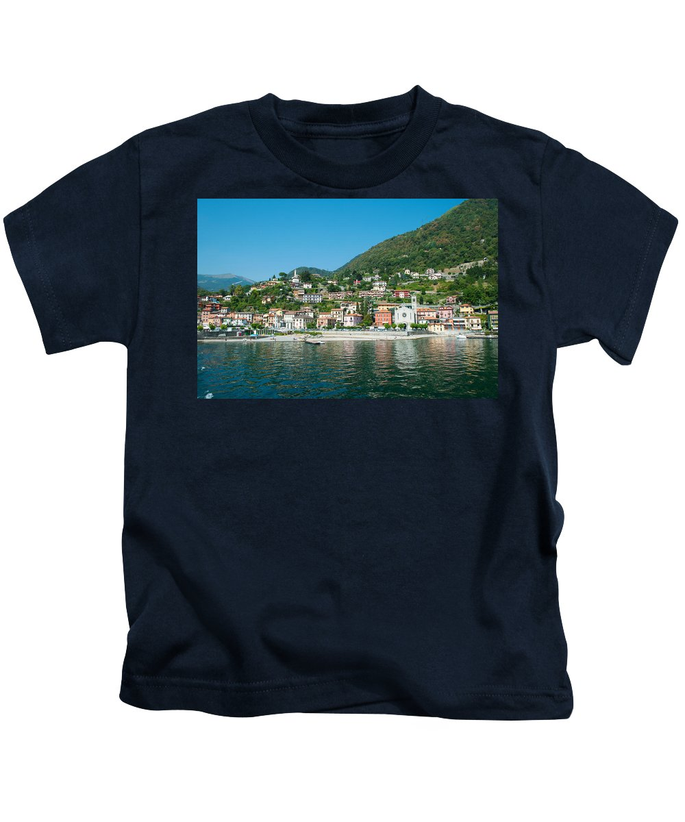 Photography Kids T-Shirt featuring the photograph Building In A Town At The Waterfront by Panoramic Images