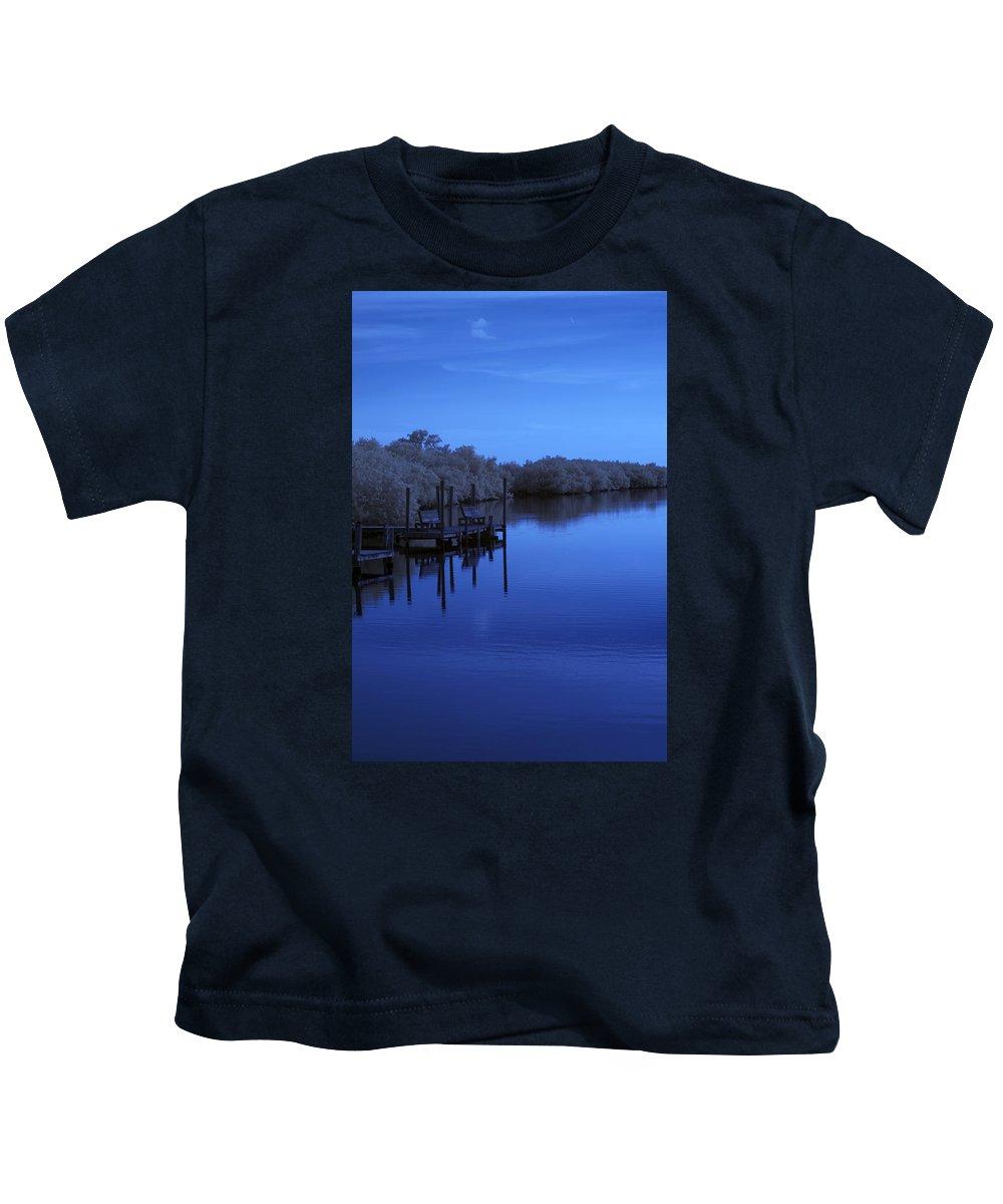 Near Kids T-Shirt featuring the photograph Bull Frog Creek II Gibsonton Fl Usa Near Infrared by Sally Rockefeller