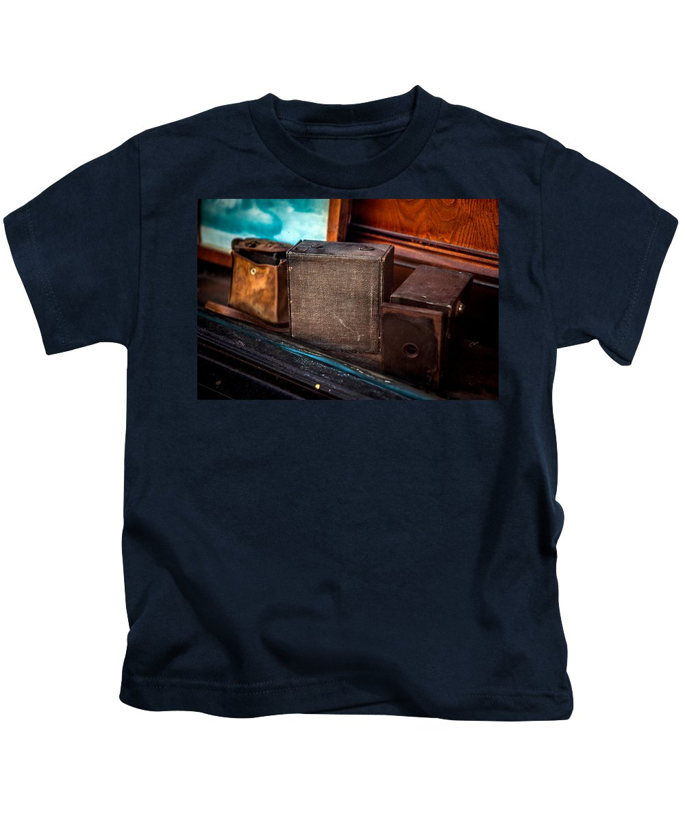 Old Camera's Kids T-Shirt featuring the photograph Camera's by Sennie Pierson