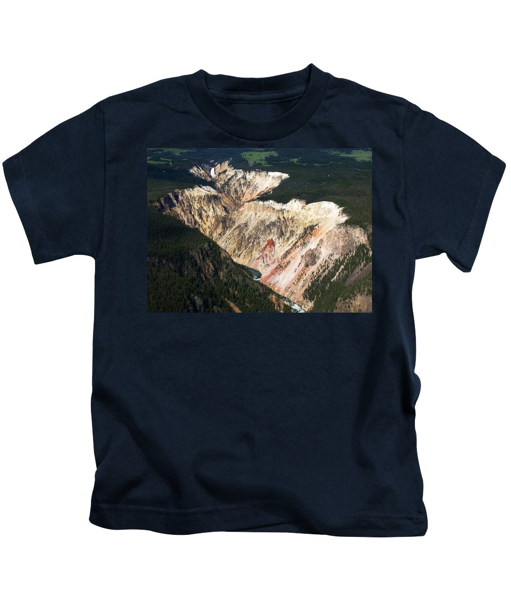 North America Kids T-Shirt featuring the photograph Canyon And Yellowstone Falls by Max Waugh