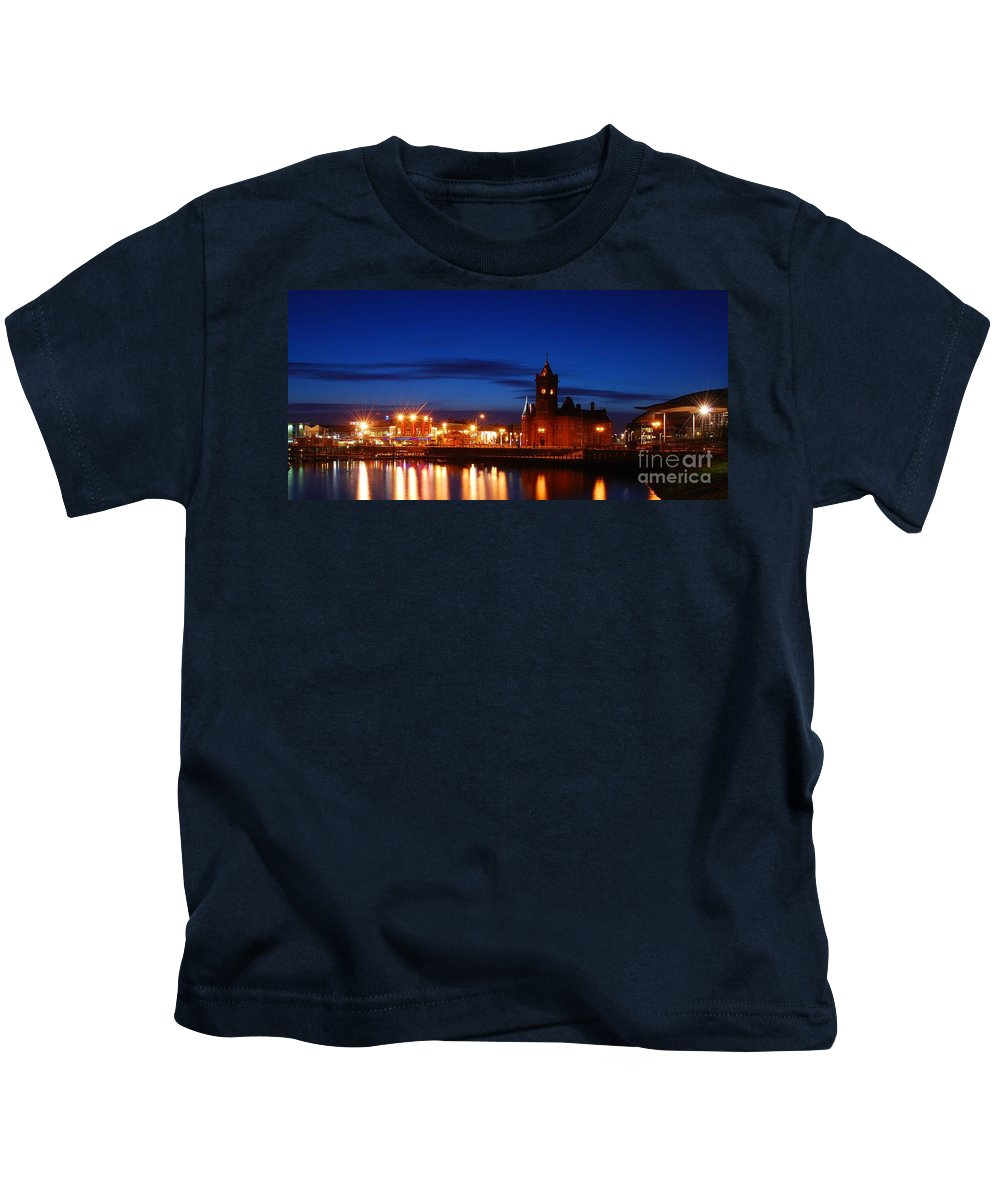 Cardiff Bay Kids T-Shirt featuring the photograph Cardiff Bay by Jenny Potter