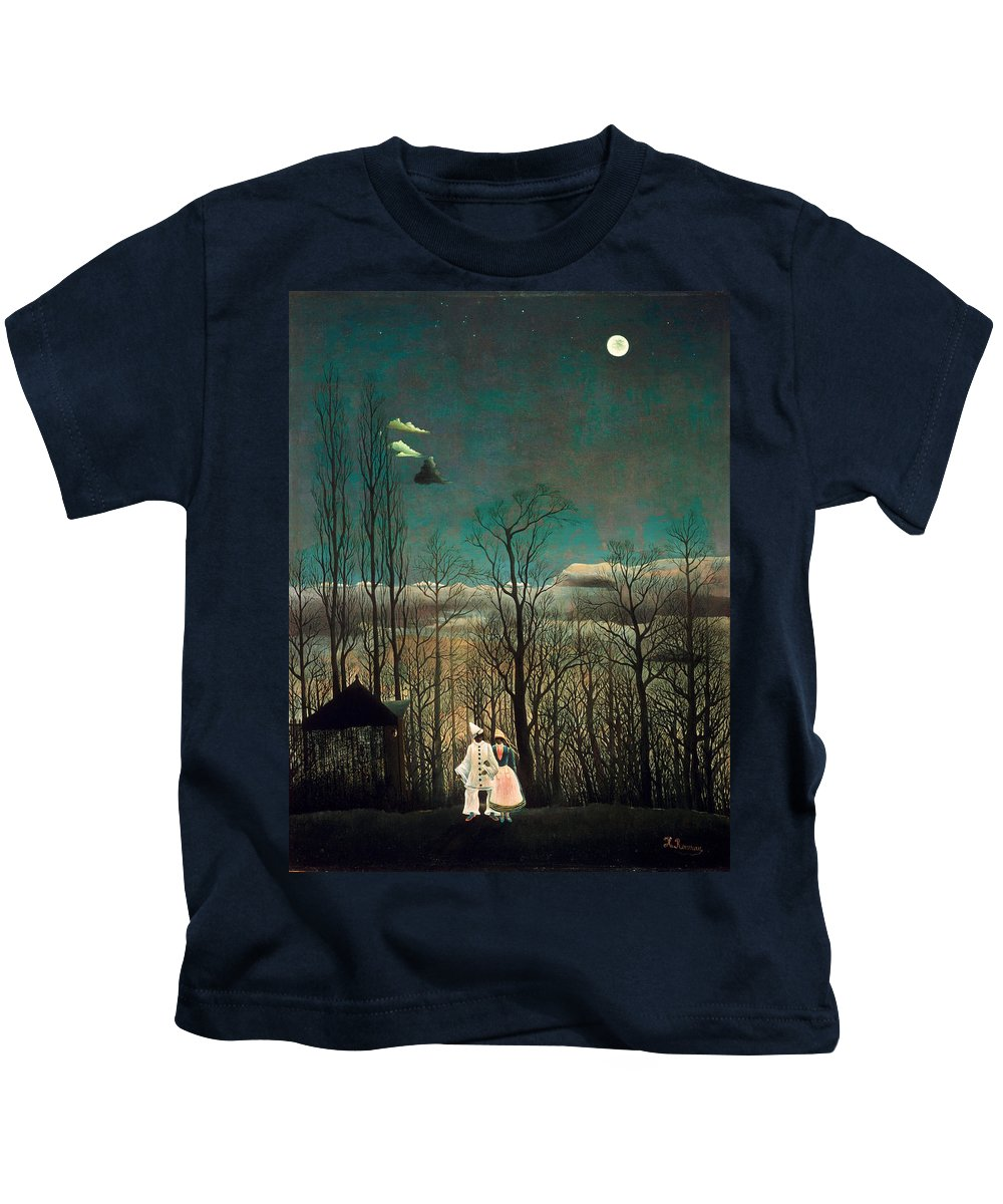Henri Rousseau Kids T-Shirt featuring the painting Carnival Evening by Henri Rousseau