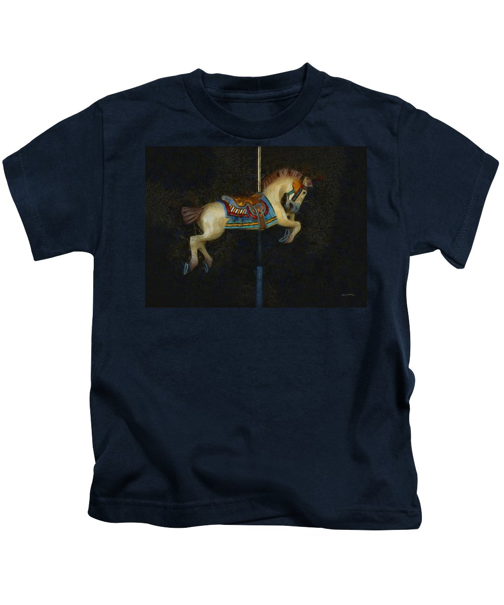 Carousel Horse Painterly Kids T-Shirt featuring the digital art Carousel Horse Painterly by Ernie Echols