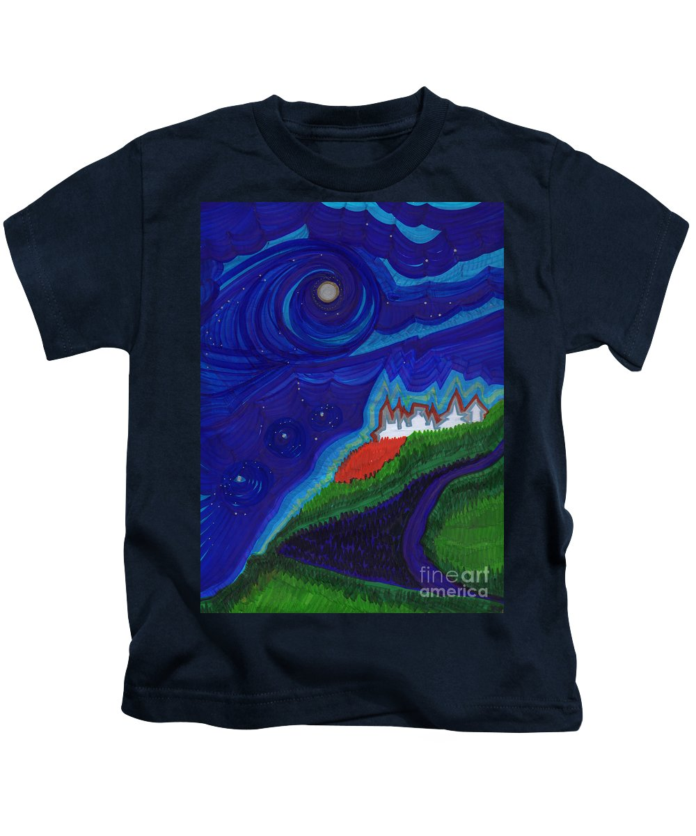 First Star Art Kids T-Shirt featuring the drawing Castle On The Cliff By Jrr by First Star Art