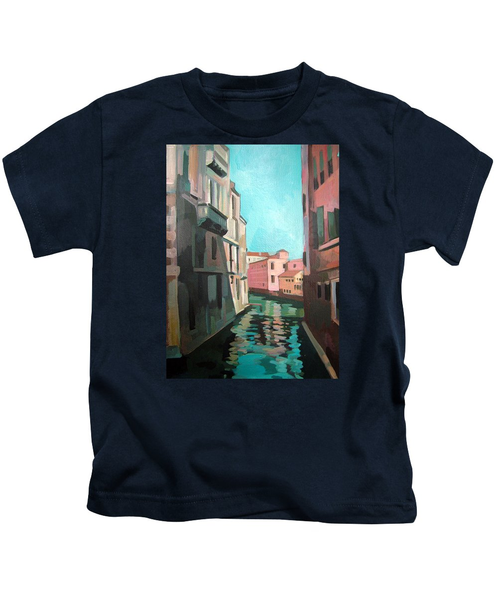 Venice Kids T-Shirt featuring the painting Channel by Filip Mihail