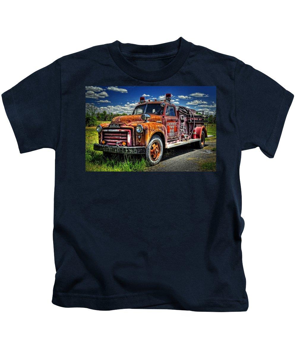 Kansas Kids T-Shirt featuring the photograph Cherokee Fire Truck by Ken Smith