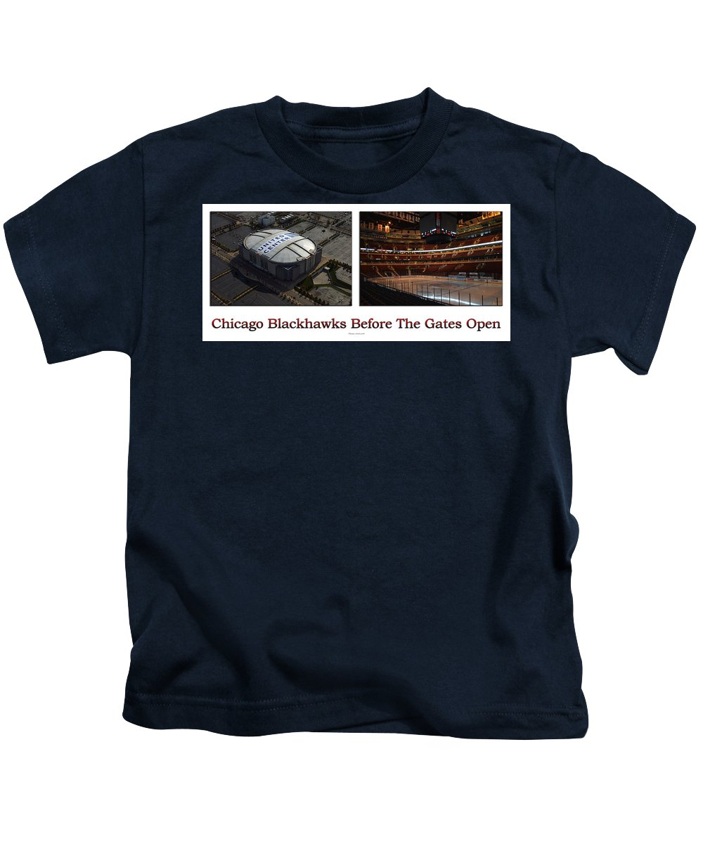 Chicago Blackhawks Kids T-Shirt featuring the photograph Chicago Blackhawks Before The Gates Open Interior 2 Panel White 01 by Thomas Woolworth