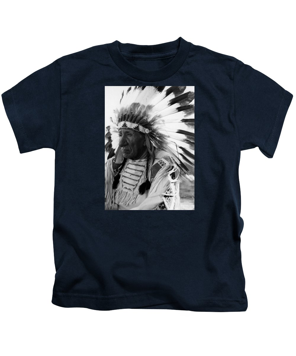 Red Cloud Kids T-Shirt featuring the photograph Chief Red Cloud by War Is Hell Store
