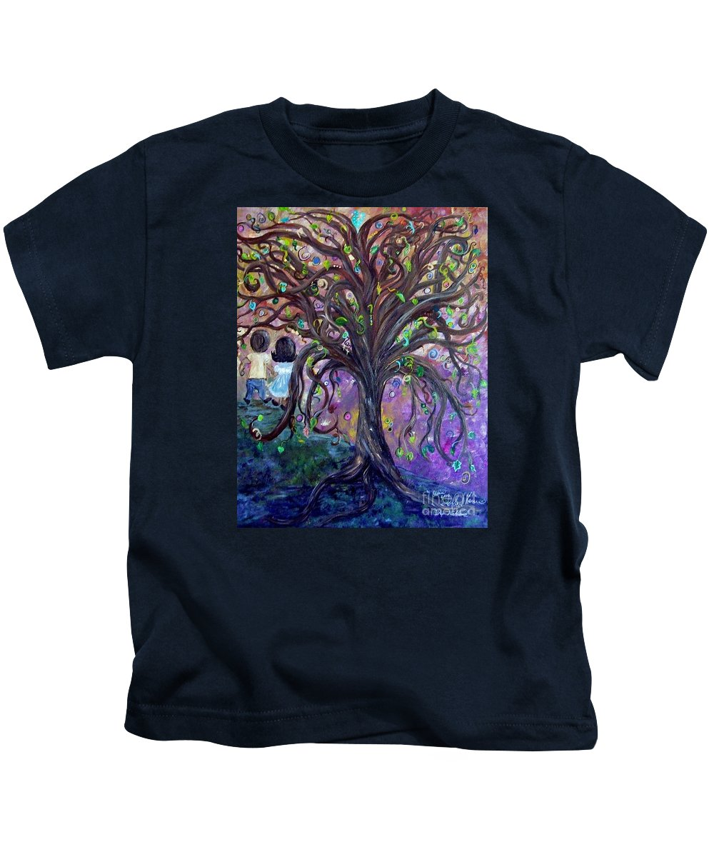 Child Kids T-Shirt featuring the painting Children Under The Fantasy Tree With Jackie Joyner-kersee by Eloise Schneider Mote