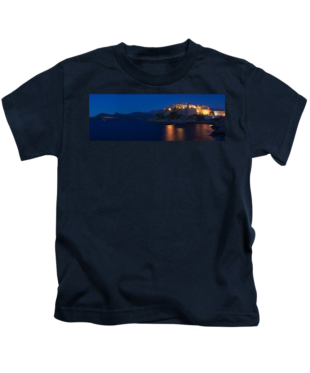 Photography Kids T-Shirt featuring the photograph Citadel At The Waterfront, Calvi by Panoramic Images