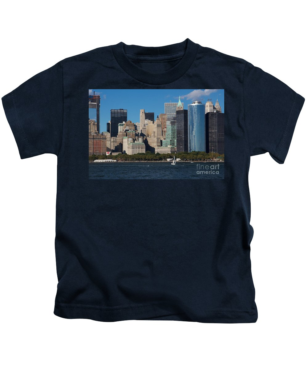 America Kids T-Shirt featuring the photograph Close View Of Downtown Manhattan Eastern Skyline by Jannis Werner