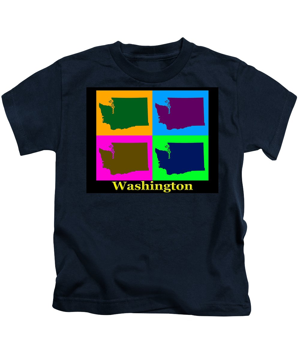 Washington Kids T-Shirt featuring the photograph Colorful Washington State Pop Art Map by Keith Webber Jr