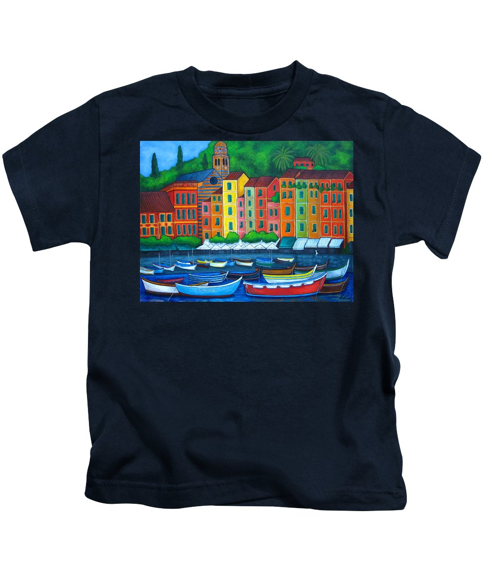 Portofino Kids T-Shirt featuring the painting Colours Of Portofino by Lisa Lorenz