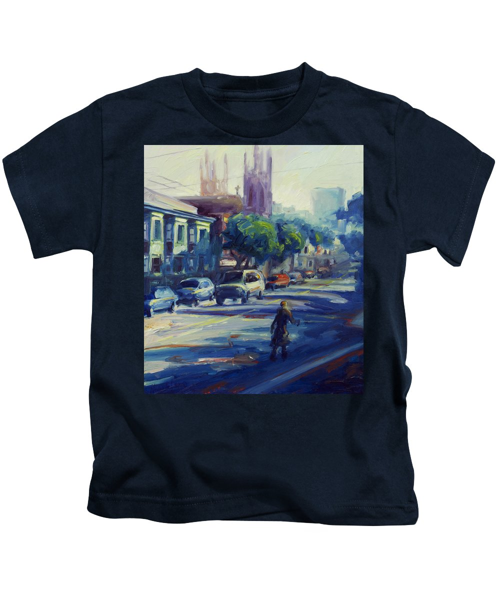 Cityscape Kids T-Shirt featuring the painting Columbus Street by Rick Nederlof