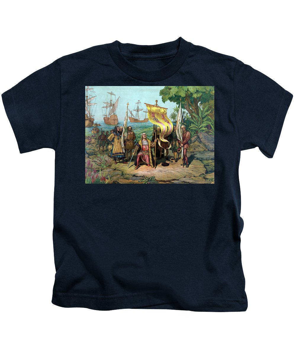 Christopher Columbus Kids T-Shirt featuring the painting Columbus Taking Possession Of The New Country by War Is Hell Store