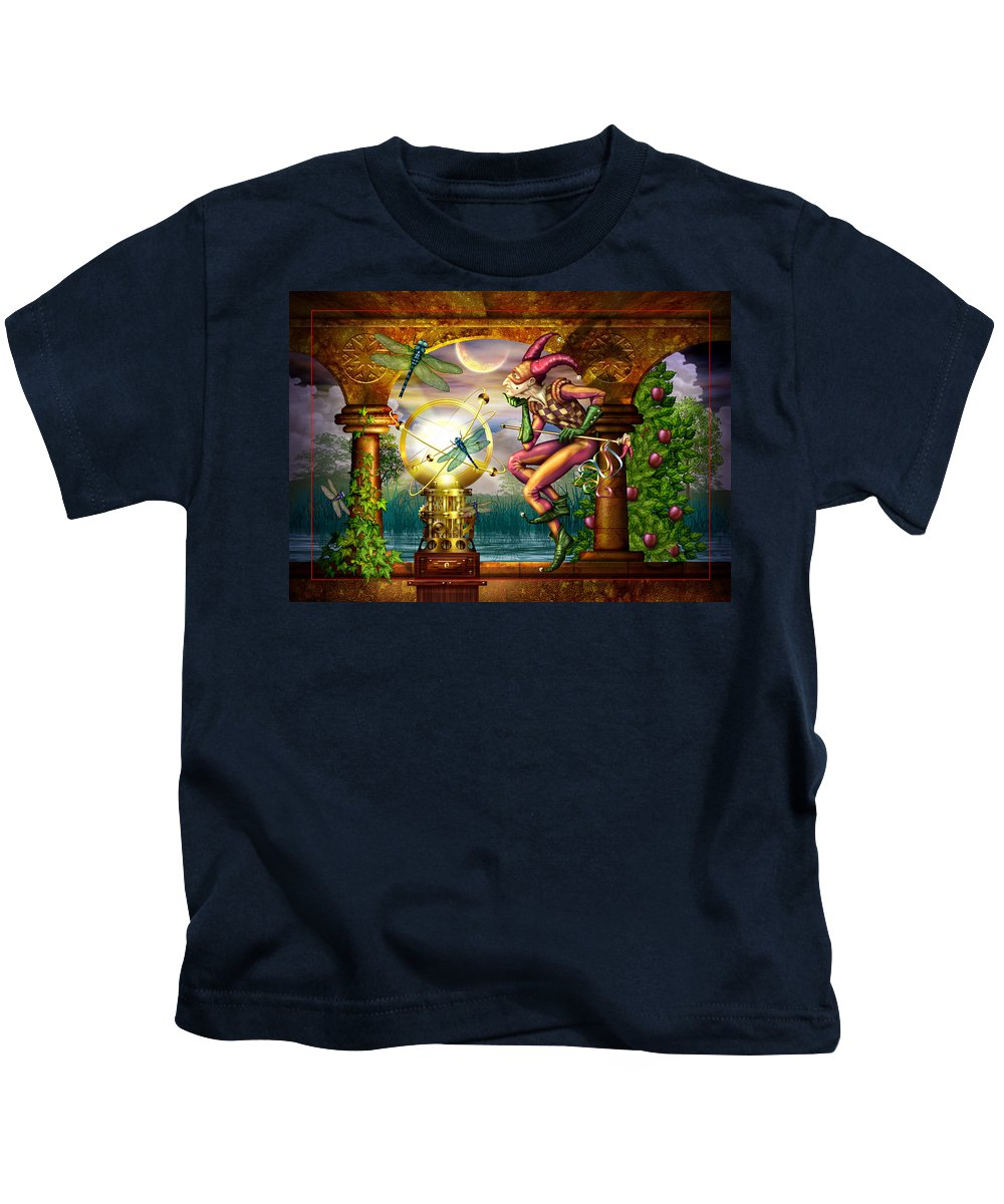Jester Kids T-Shirt featuring the digital art Contemplating The System by Ciro Marchetti