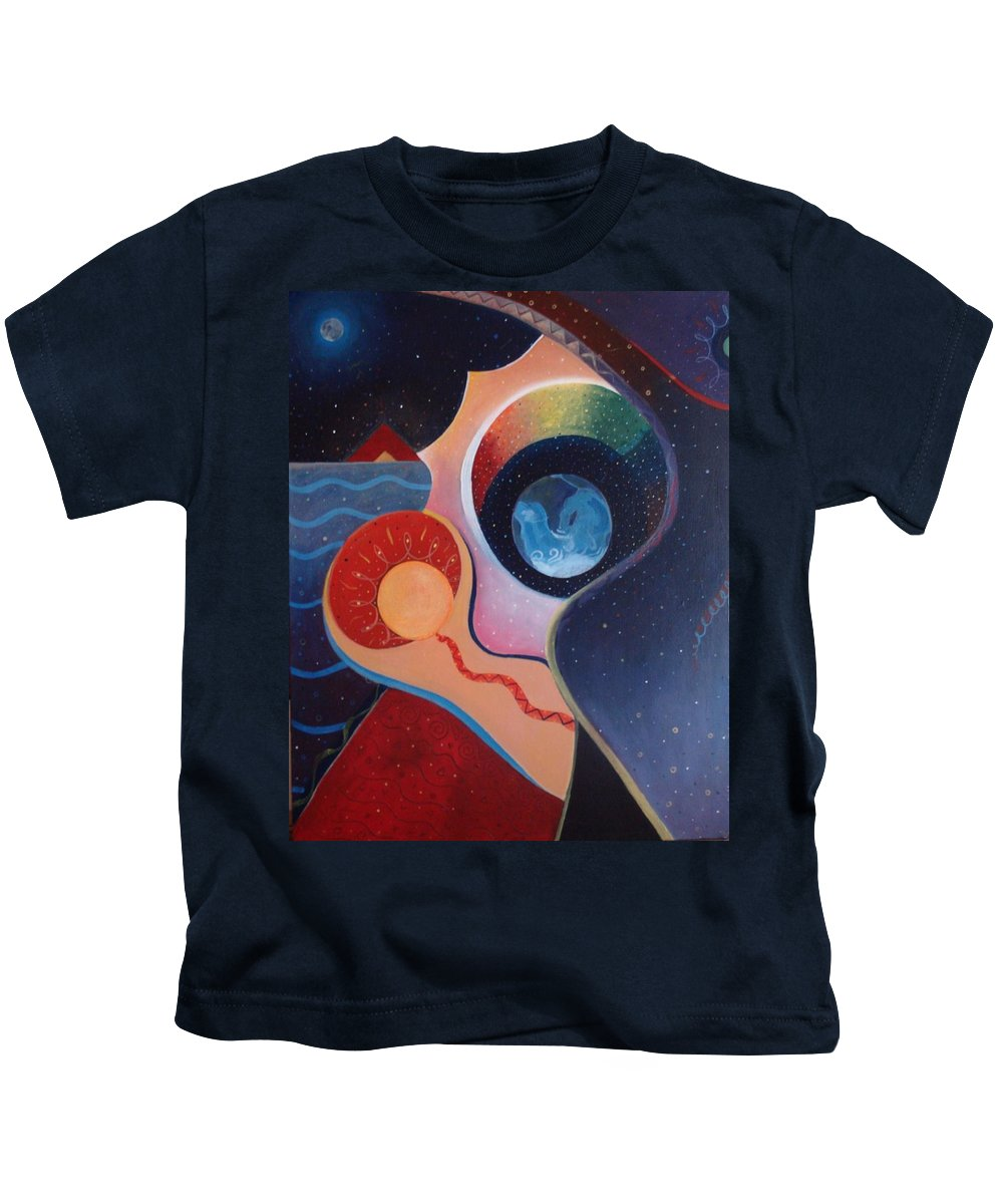 Wanting Kids T-Shirt featuring the painting Cosmic Carnival IIl Aka Desire by Helena Tiainen
