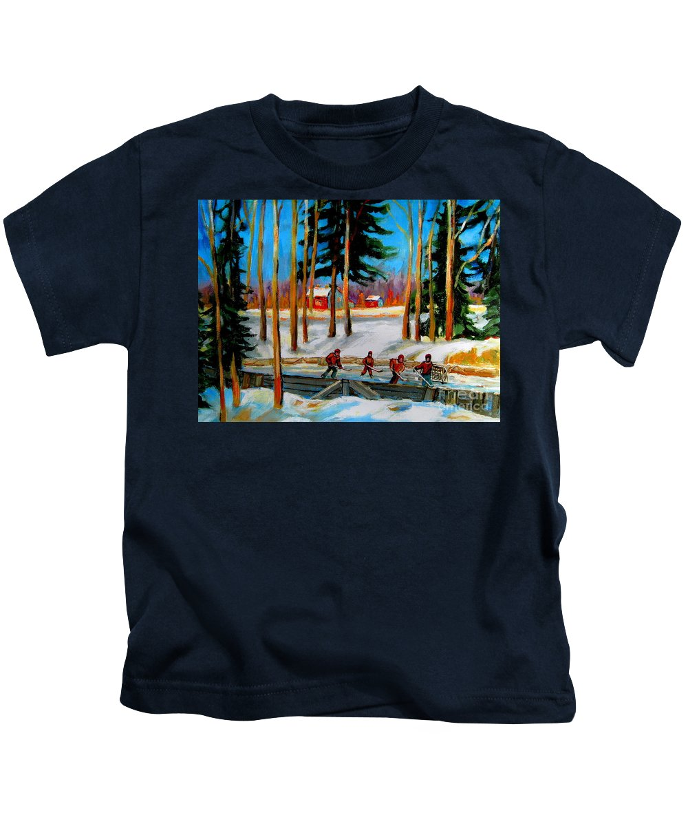 Country Hockey Rink Kids T-Shirt featuring the painting Country Hockey Rink by Carole Spandau