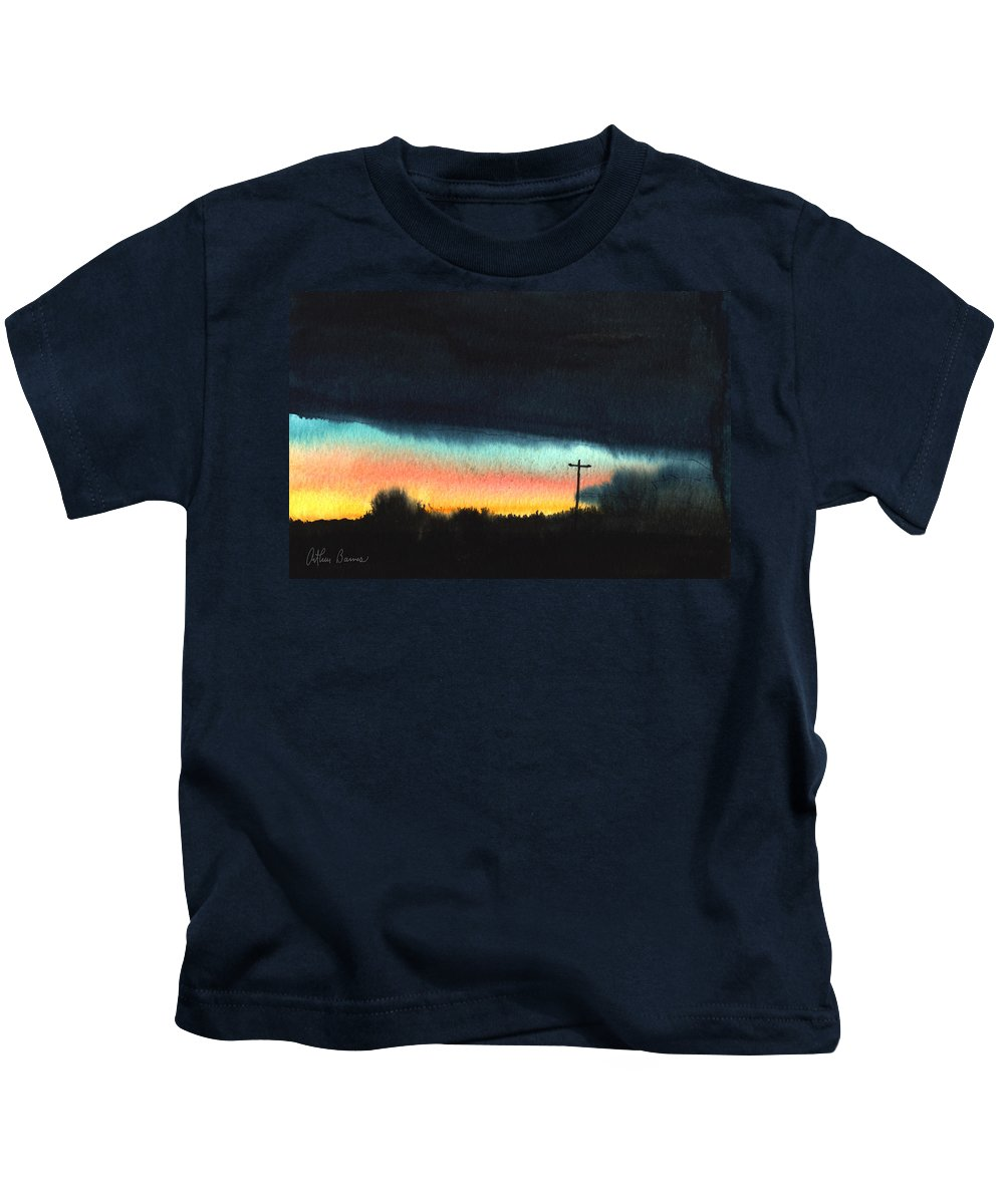 Sunrise Kids T-Shirt featuring the painting Crack Of Dawn. by Arthur Barnes