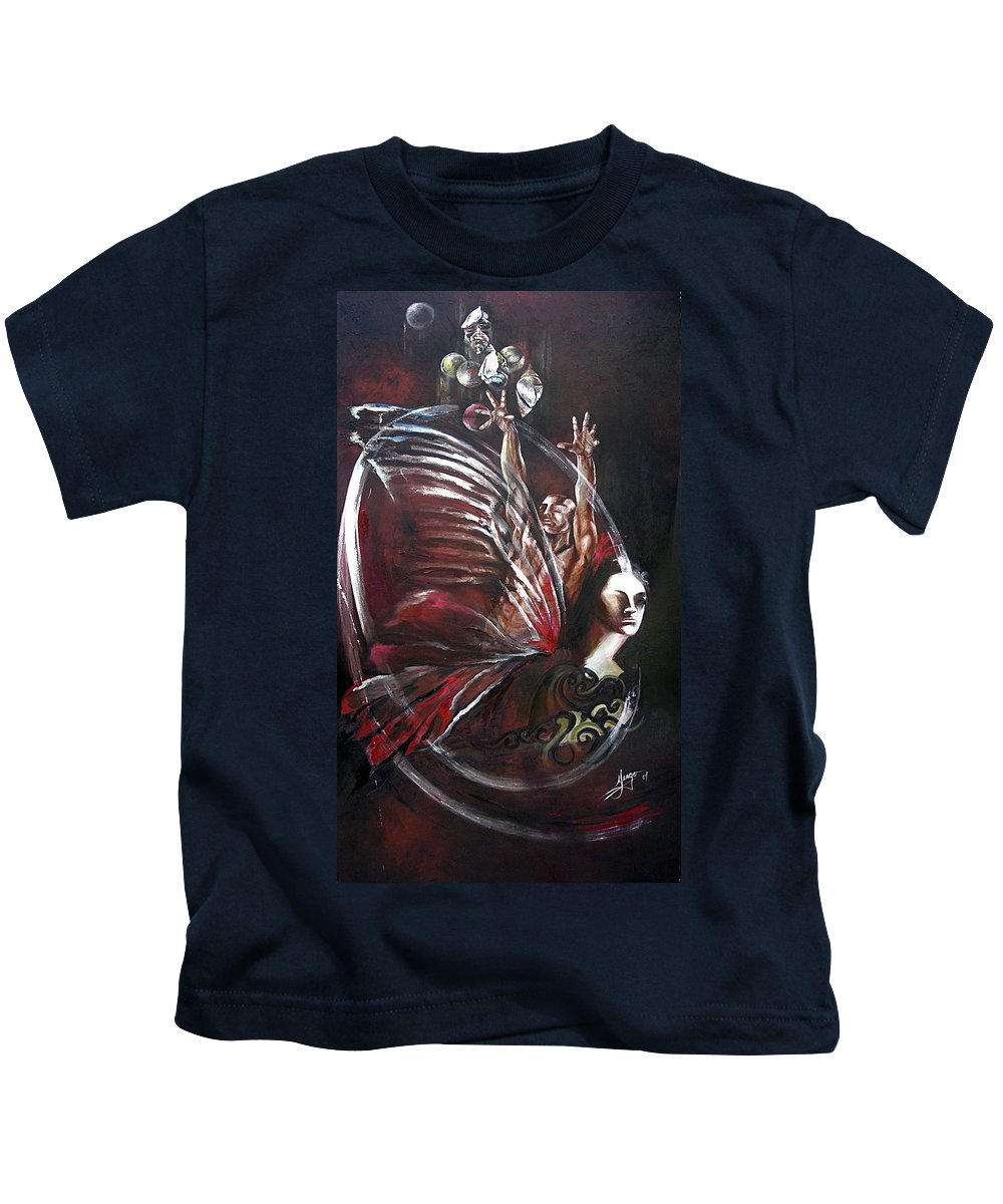 Butterflies Kids T-Shirt featuring the painting Creation Of Subspecies by Karina Llergo