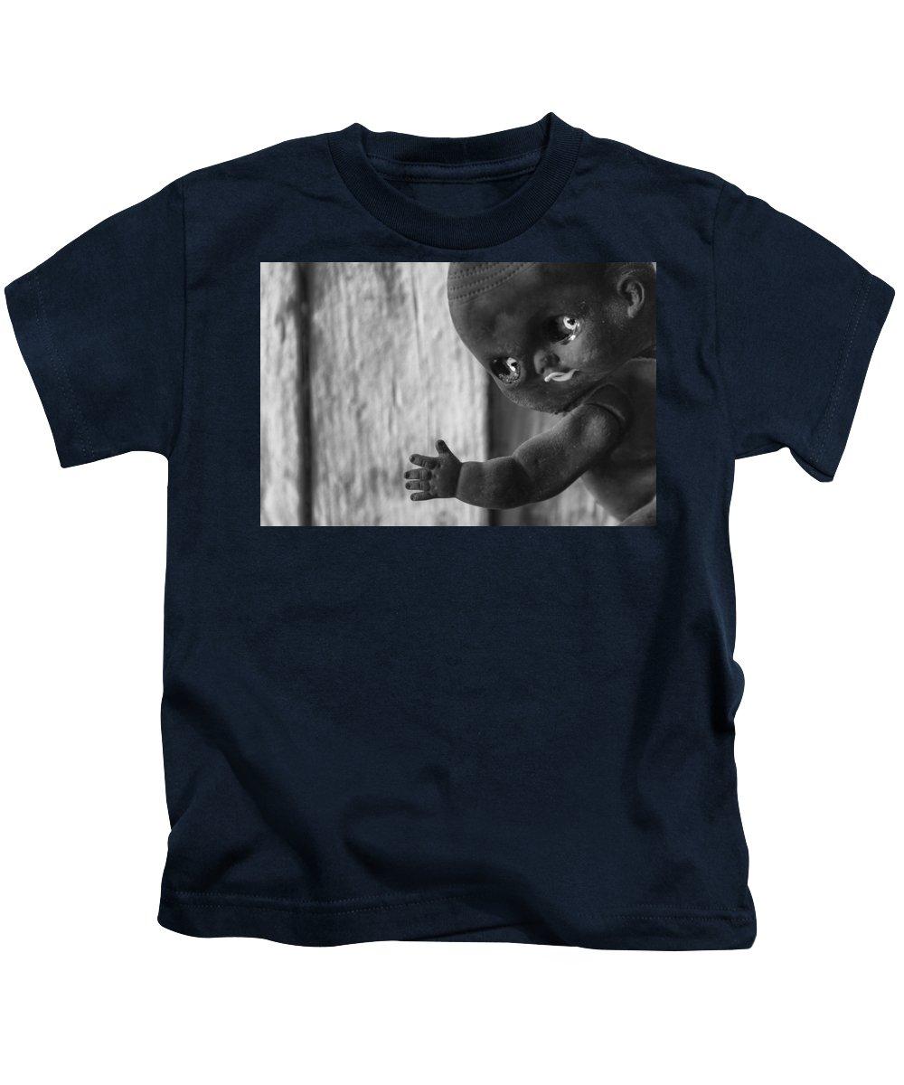 Folk Art Kids T-Shirt featuring the photograph Creepy Baby Bw by Scott Campbell