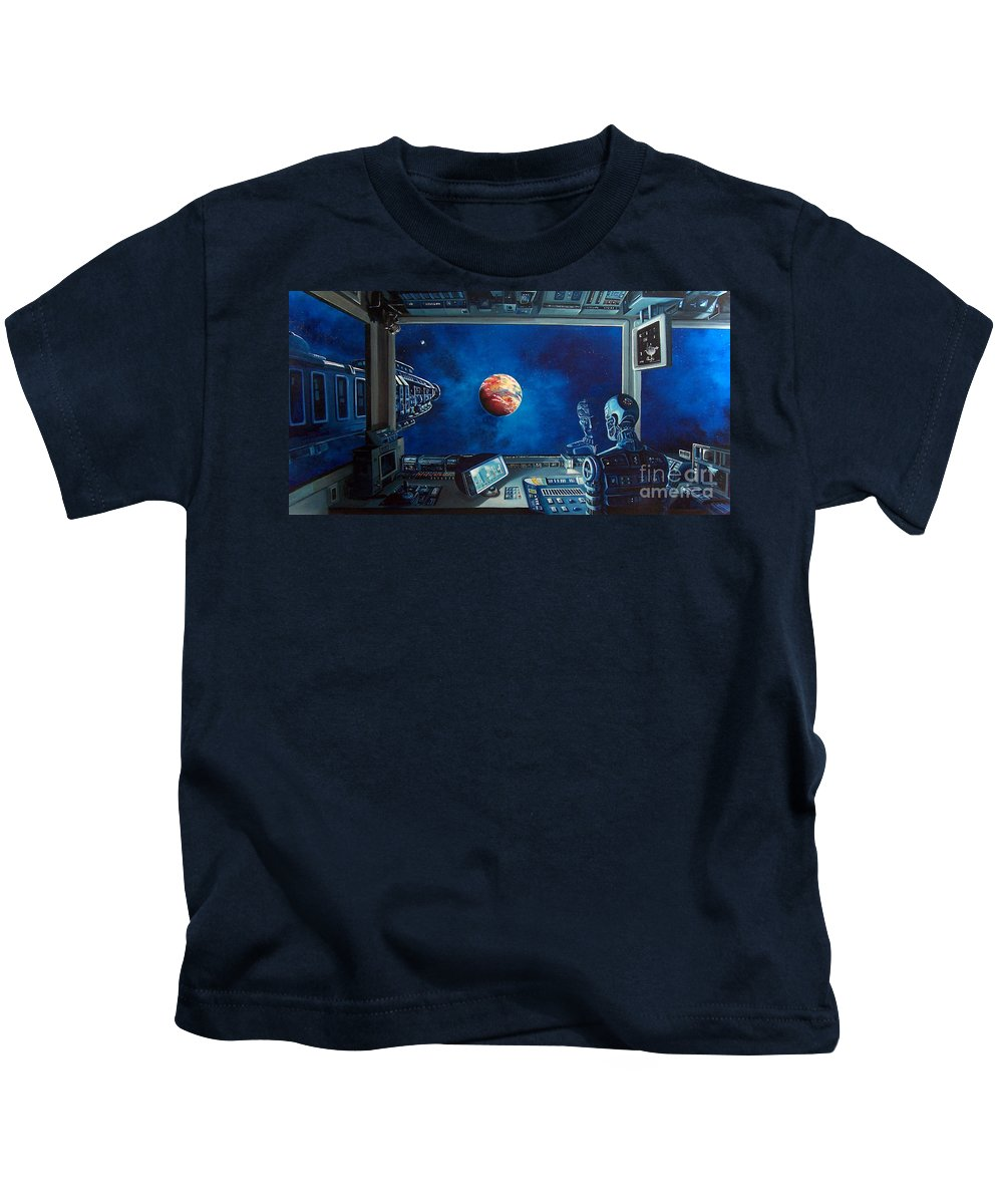Fantasy Kids T-Shirt featuring the painting Crying Robot by Murphy Elliott