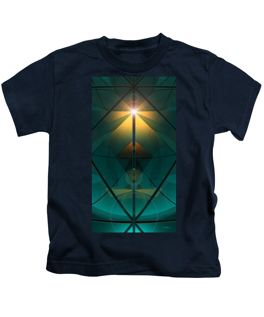 Abstract Kids T-Shirt featuring the digital art Crystal Cathedral by James Kramer