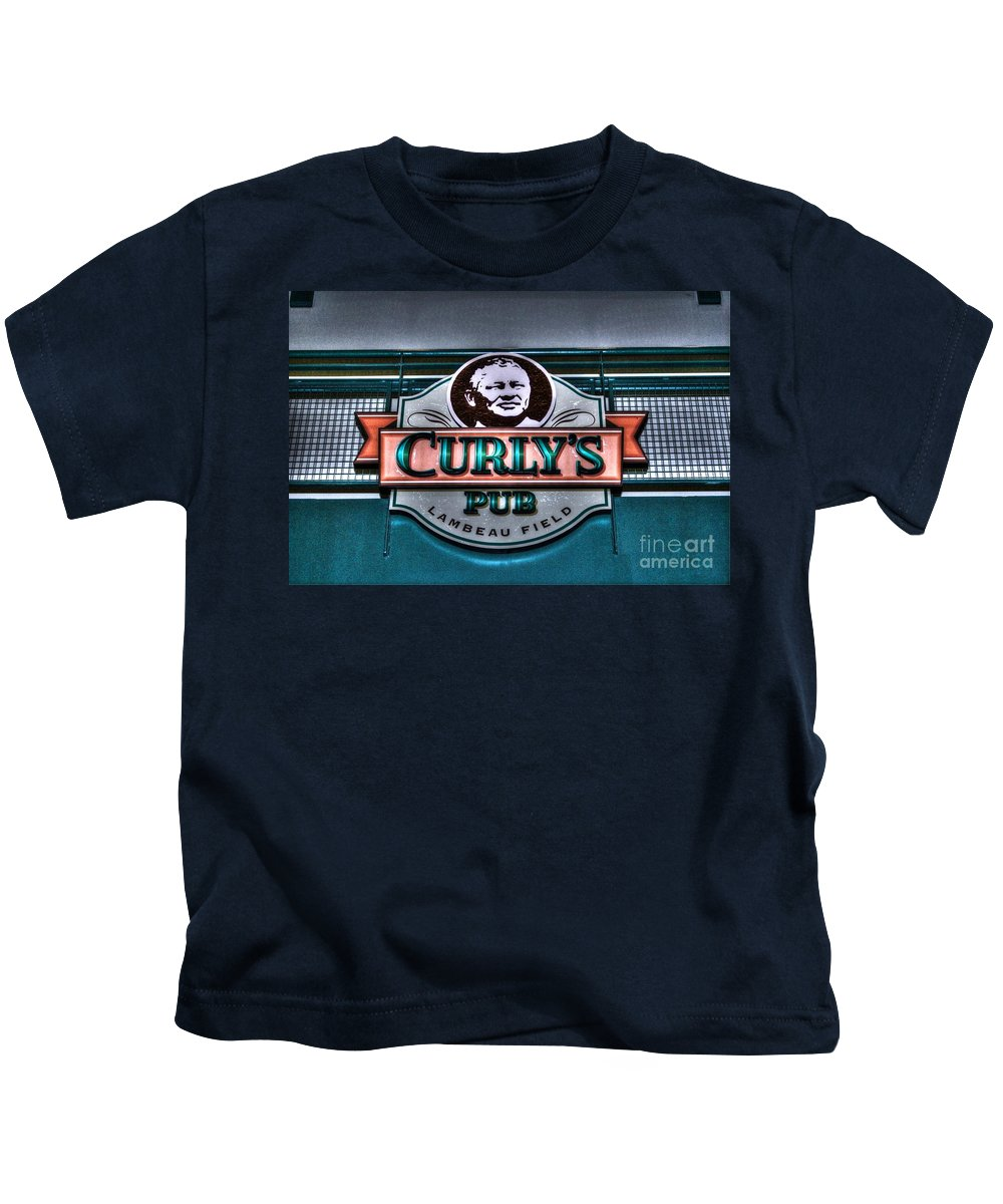 Curlys Pub Kids T-Shirt featuring the photograph Curlys Pub - Lambeau Field by Tommy Anderson