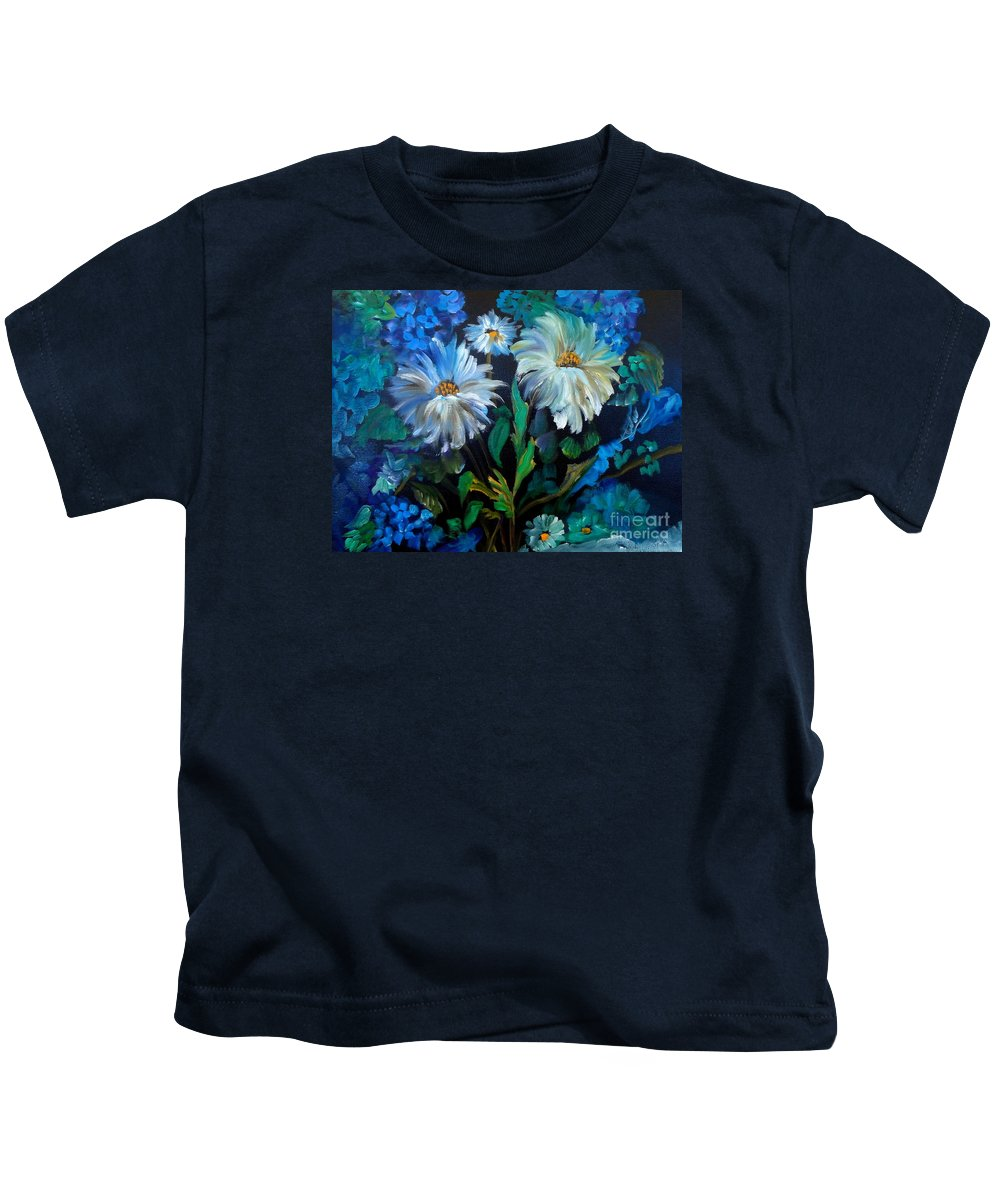 Impressionism Kids T-Shirt featuring the painting Daisies At Midnight by Jenny Lee