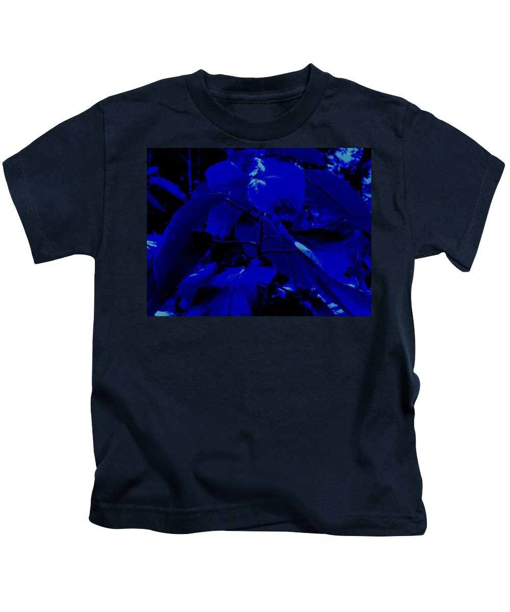 Leaves Kids T-Shirt featuring the photograph Dark Blue Leaves by Ian MacDonald