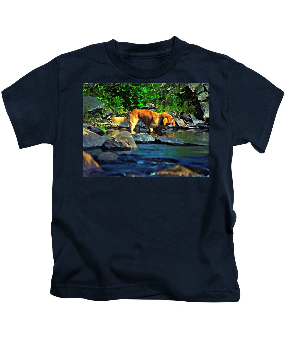Dog Kids T-Shirt featuring the photograph Darn Fishies by Steve Harrington